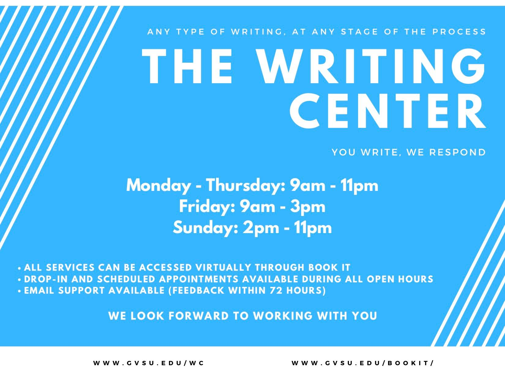 Fall 2020 writing center hours